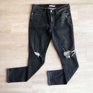 Levi's 711 Skinny Distressed Jeans Bandit Black 29